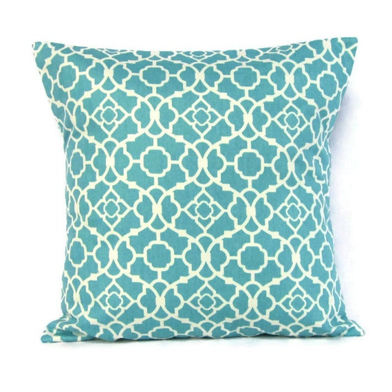 Throw Pillow Cover Aqua Blue White Turquoise by GigglesOfDelight