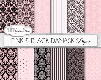 "Pink damask papers ""PINK & BLACK"" pink and black background with black, white, pink damask for scrapbooking, invitations, cards and more"