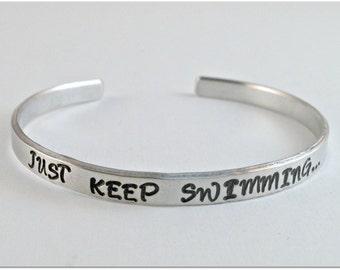 Just Keep Swimming Finding Nemo Cuff Bracelet
