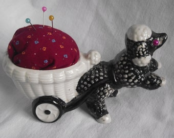 VINTAGE POODLE Cart,Upcycled Poodle Cart Pin Cushion,1950's Ceramic Poodle Cart Repurposed as Pincushion,Pincushion,Poodle Cart PIncushion