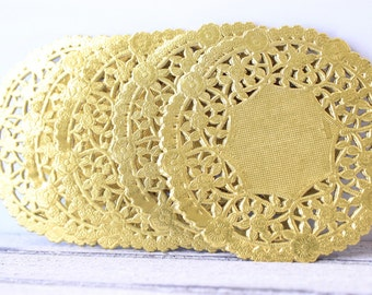 "Metallic Gold Doily - French Lace  Paper 4"" Doilies - Wedding Decoration, Vintage Wedding, Lace Doilies, Bridal Showers, Gold Wedding"