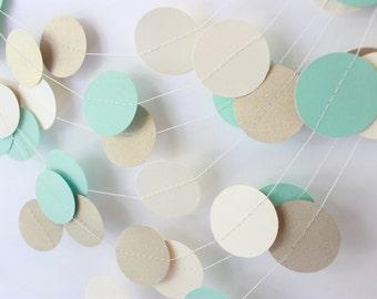Wedding Garland, Mint Green, Gold & Cream Circle Paper Garland 10 ft - Bridal Shower, Baby Shower, Party Decorations, Birthday