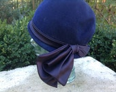 Vintage Hat Midnight Blue Felt Cloche Style with Large Satin Side Ribbon by Glenover