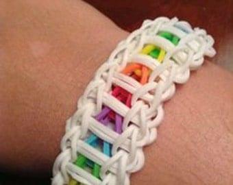 Ladder rainbow loom rubber band bracelet