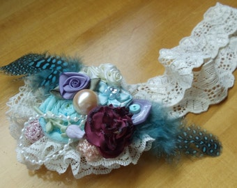 Handmade Vintage Rosette Hair bow and Lace Headband