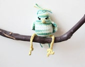 Hand Knit bird Green Yellow Turquoise Ombre Stuffed Tweet Toy 100% cotton