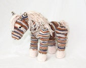 Hand Knit Pony Horse Peach, Orange, Purple, Tan Ombre Stuffed Animal Toy - DaisyBelleDesignCo