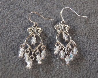 Vintage Sterling Silver Chandelier Style Dangle Earrings with 6 Glass Aurora Borealis Beads       M