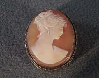 Vintage Sterling Silver  Fancy Carved Cameo Victorian-style   big pin brooch  Pendant Charm