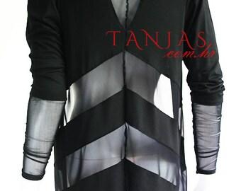 ETRA  black jersey shrug vest bolero blazer designer handmade