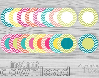instant download circles clipart set, chevron circle clip art, round frames, summer colors, for stickers labels scrapbooking