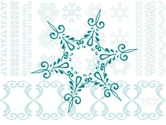 snowflakes digital clipart & matching ribbons - Christmas - winter scrapbooking - download