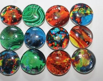 Geocache Glass Stone Refrigerator Magnets -  Precious Stones 12 Piece Set