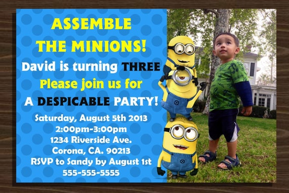 despicable me minions birthday invitation with picture by nhelydesigns, Birthday invitations