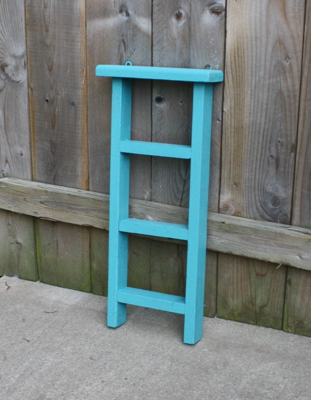 Hand painted primitive small teal wood ladder home decor for Decor ladder house