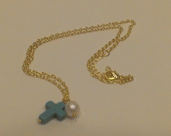 Turquoise cross and pearl necklace-Silver or Gold