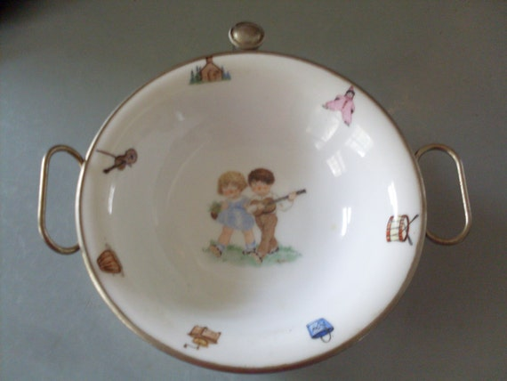 Baby Showers In Germany ~ Vintage baby cereal bowl warmer made in by connecticutfinds