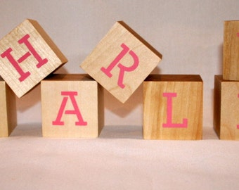 Personalized Wood Building Blocks Letters and Numbers - Nursery Decor - Wood Blocks- Baby Shower Gift