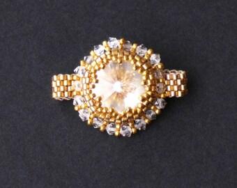 Swarovski Crystal and Gold Beaded Ring