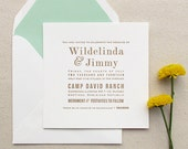 The Marigold Suite - Letterpress Wedding Invitation Sample - Mint and Gold - Modern, blue, Green, Urban Chic, Serif Fonts, Simple, Square