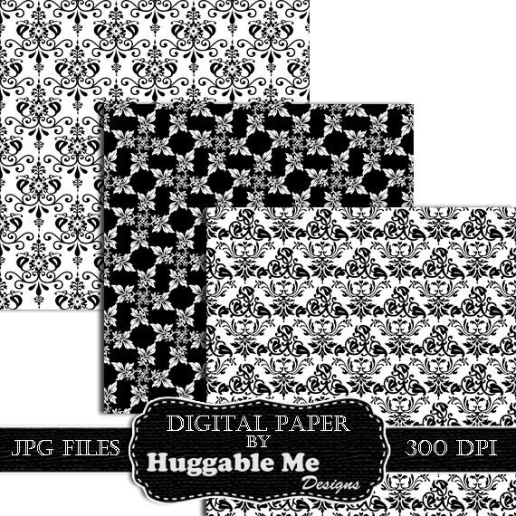 Digital Black Damask Paper - Instant Download Black and ...