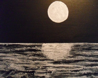 """Original black and white painting. """"Breakers"""". Done in acrylic on wood. Signed Original."""