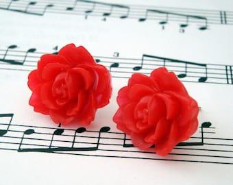 Red flower earrings - vintage inspired rose on silver studs