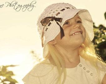 Crochet cotton toddler child sun hat- custom made to order