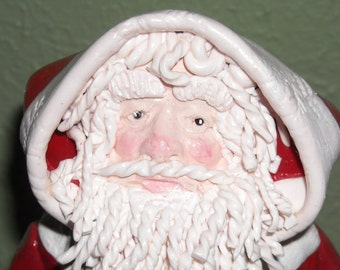 Traditional Santa Clause - Hand Sculpted- Polymer clay - Art Doll, OOAK, Decoration, Christmas Decoration, Santa Art Doll