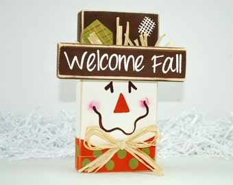 Scarecrow Welcome Fall WoodenBlock Shelf Sitter