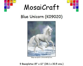 MosaiCraft Pixel Craft Mosaic Art Kit 'Blue Unicorn' (Like Mini Mosaic and Paint by Numbers)