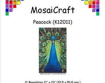 MosaiCraft Pixel Craft Mosaic Art Kit 'Peacock' (Like Mini Mosaic and Paint by Numbers)