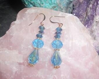 Blue Crystal Beaded Earrings