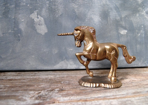 Vintage Solid Brass Unicorn Figurine Brass Unicorn Paperweight for Home or Office