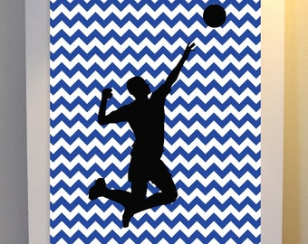 boys wall art volleyball art sports art boys room art chevron - Volleyball Bedroom Decor