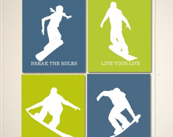 Boys wall art, snowboard art, snowboarder, snowboarding, boys room art, snowboarding art, teen boy art, Set to 4 prints