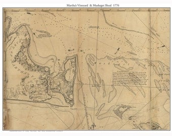 Martha's Vineyard and Muskeget Shoal 1776 map by Des Barres Massachusetts