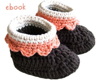 Instant Download - Crochet Pattern - Chocolate Baby Booties - PDF ebook No. 6