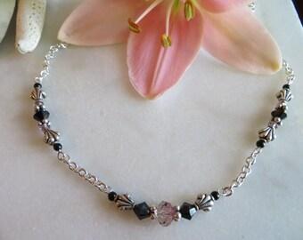 Great Gatsby Necklace, Sterling Silver Tassel Necklace, Black Onyx Necklace, Swarovski Necklace, Sterling Silver Necklace, Swarovski Crystal