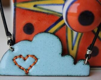 enamel cloud - orange heart