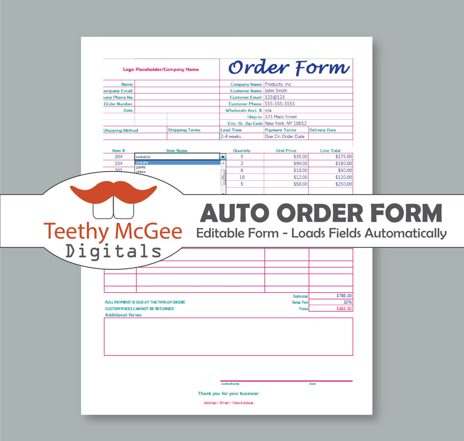 Automatic Order Form Template Instant Download Editable