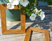 Set of Two Reclaimed OAK PICTURE FRAMES handmade  Antique Barn Wood Unique