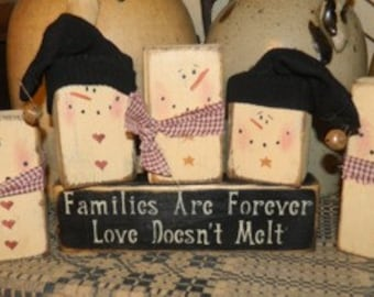 Snowman Family Primitive Winter Christmas Block Sign