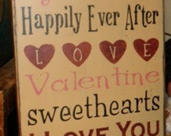Valentine's Day typography primitive sign