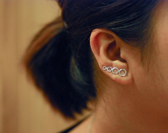 Bubbles Sterling Silver Ear Climbers