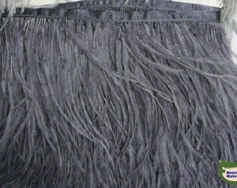 10 yard/lot Dark GREY ostrich feather trimming fringe on Satin Header 6-7inch in width for Wedding Derss(color as picture)