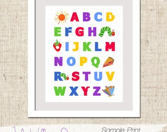 INSTANT DOWNLOAD Hungry Caterpillar Themed Abc Wall Print - Pdf Digital