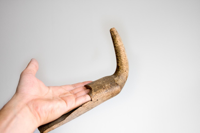 primitive wooden harvest tool antique swap hook wooden