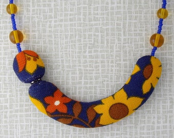 floral blue and yellow fabric necklace