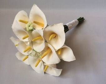 Calla lilies clay flower bouquet
